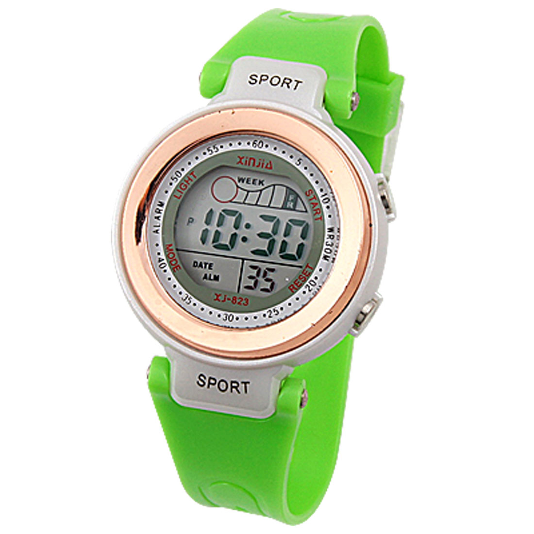 Cold Light LCD Display Green Band Wristwatch Sports Digital Watch