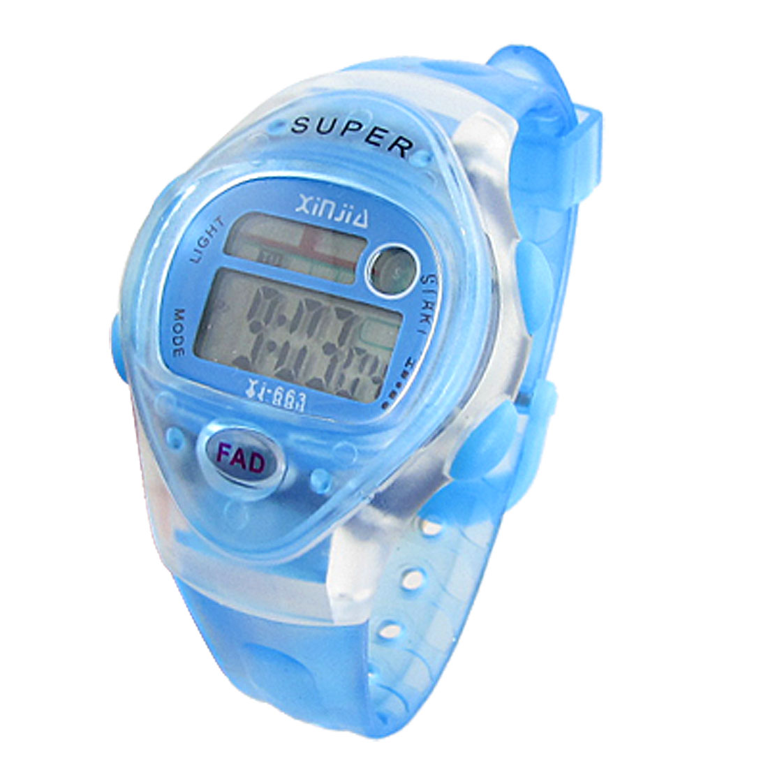 Clear Blue Soft Plastic Band Backlight Digital Sports Watch