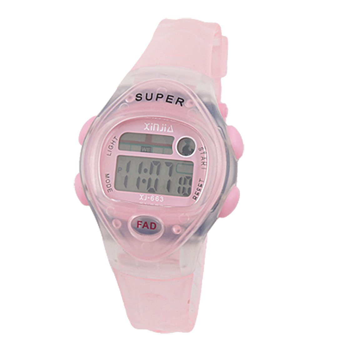 Round Dial Case Adjustable Clear Pink Digital Watch