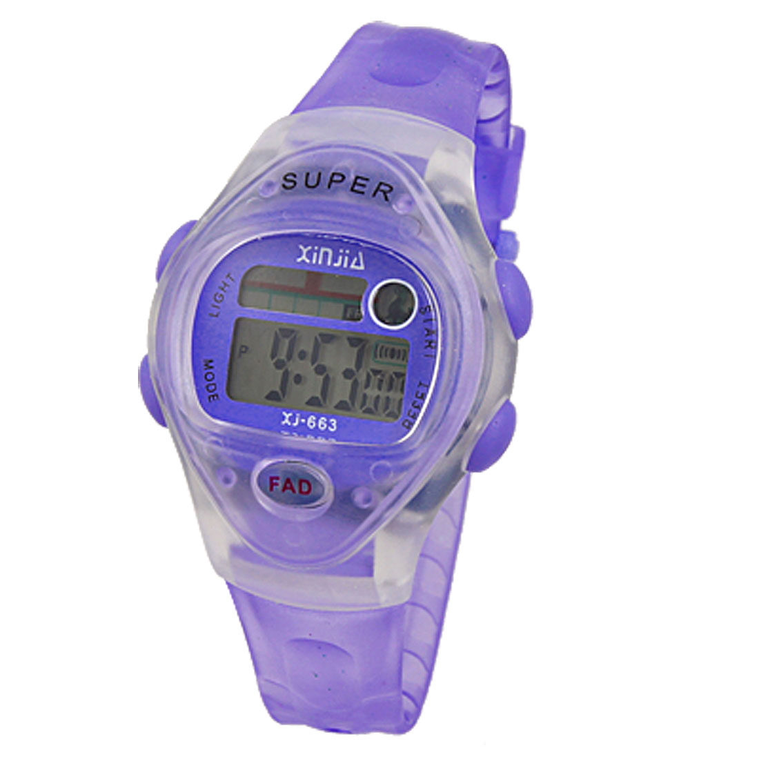 LCD Digital Display Alarm Stopwatch Clear Purple Sports Watch
