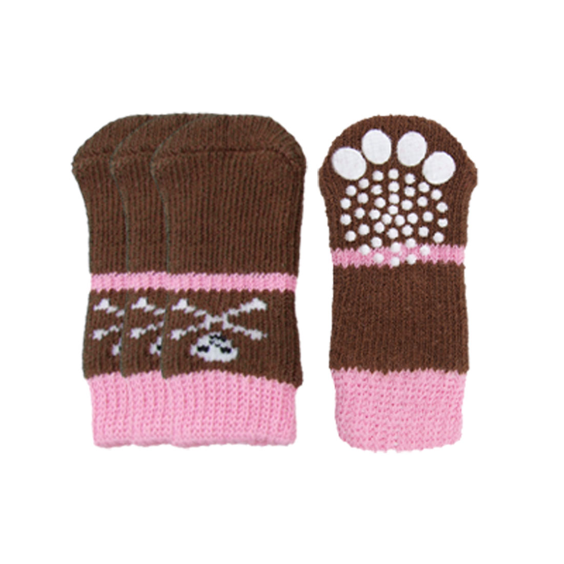 Puppy Crossbone Skull Pattern Elastic Socks Pink Brown