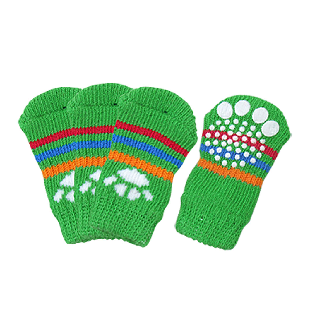 Paw Pattern Colorful Stripe Green Elastic Socks for Dog