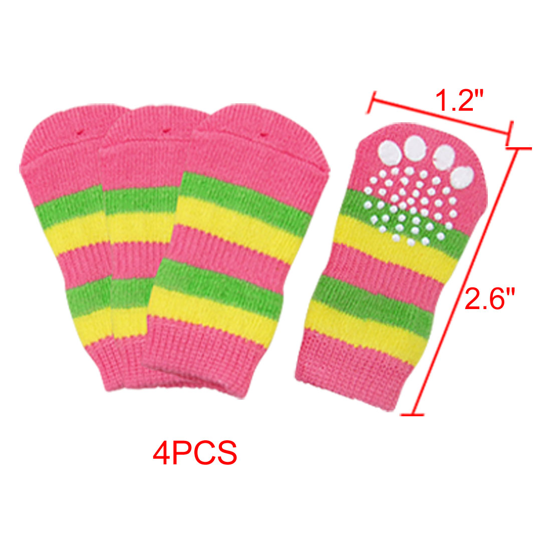 Puppy Striped Pattern Elastic Non-slip Warm Socks 4Pcs