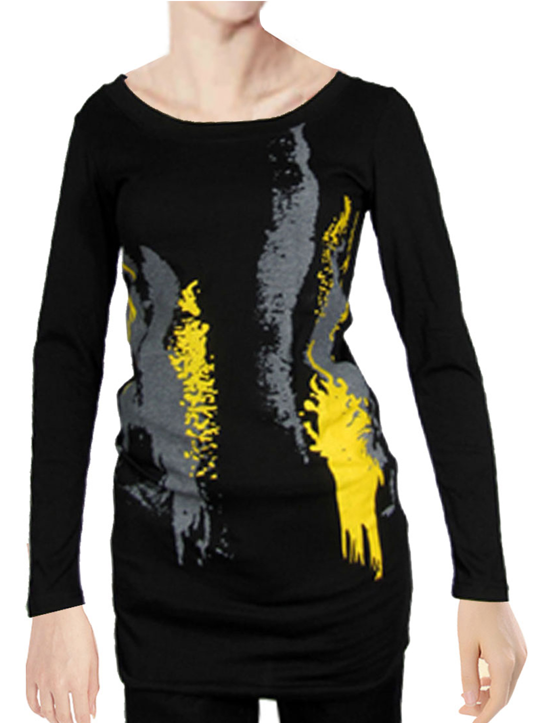 XS Yellow Gray Print Scoop Neck Long Shirt Black for Lady