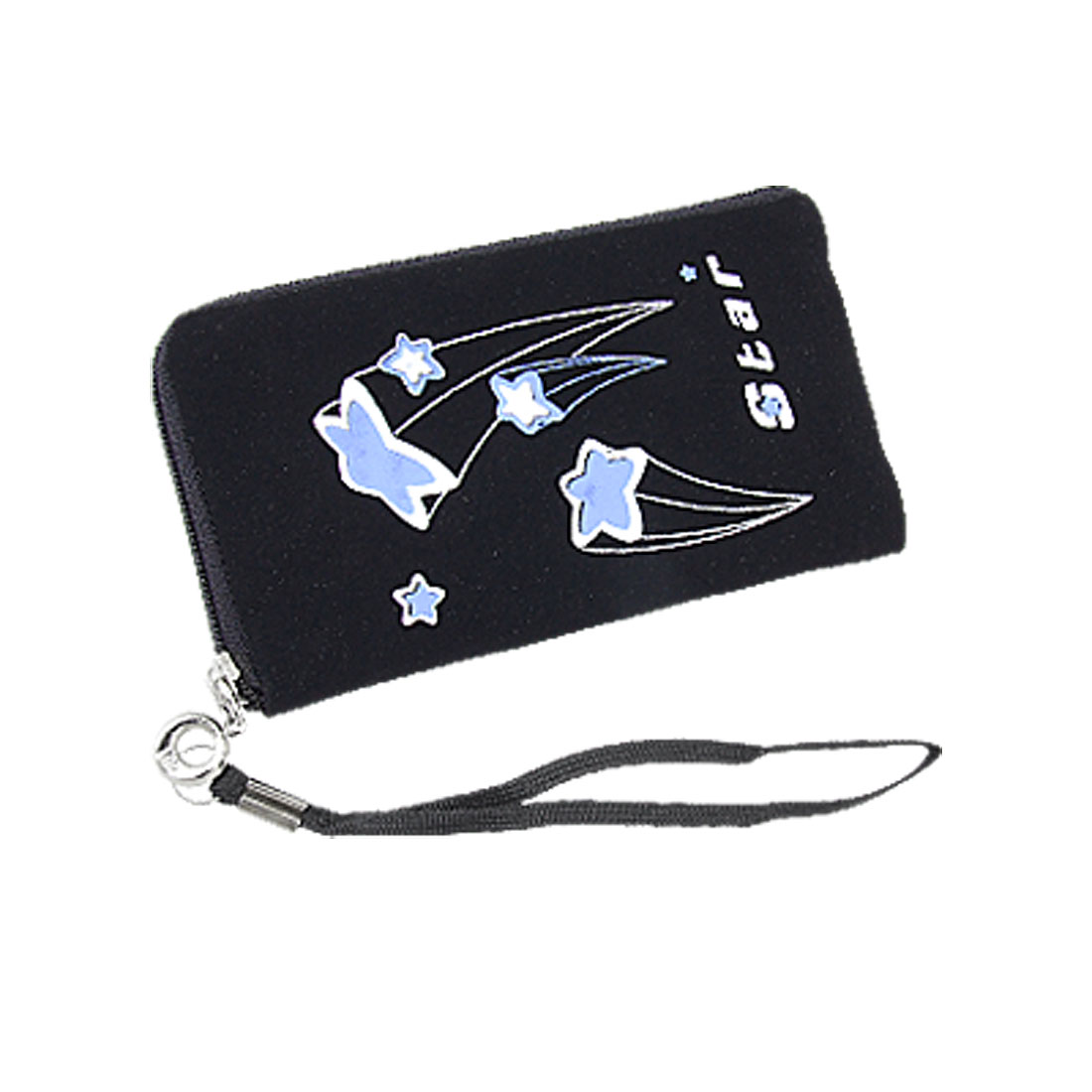 Black Blue Star Print L Shape Zipper Pouch w Strap for Mobile Phone