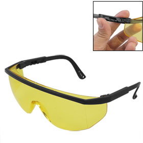 Men Black Plastic Arms Yellow Single Lens Windproof Glasses Goggles