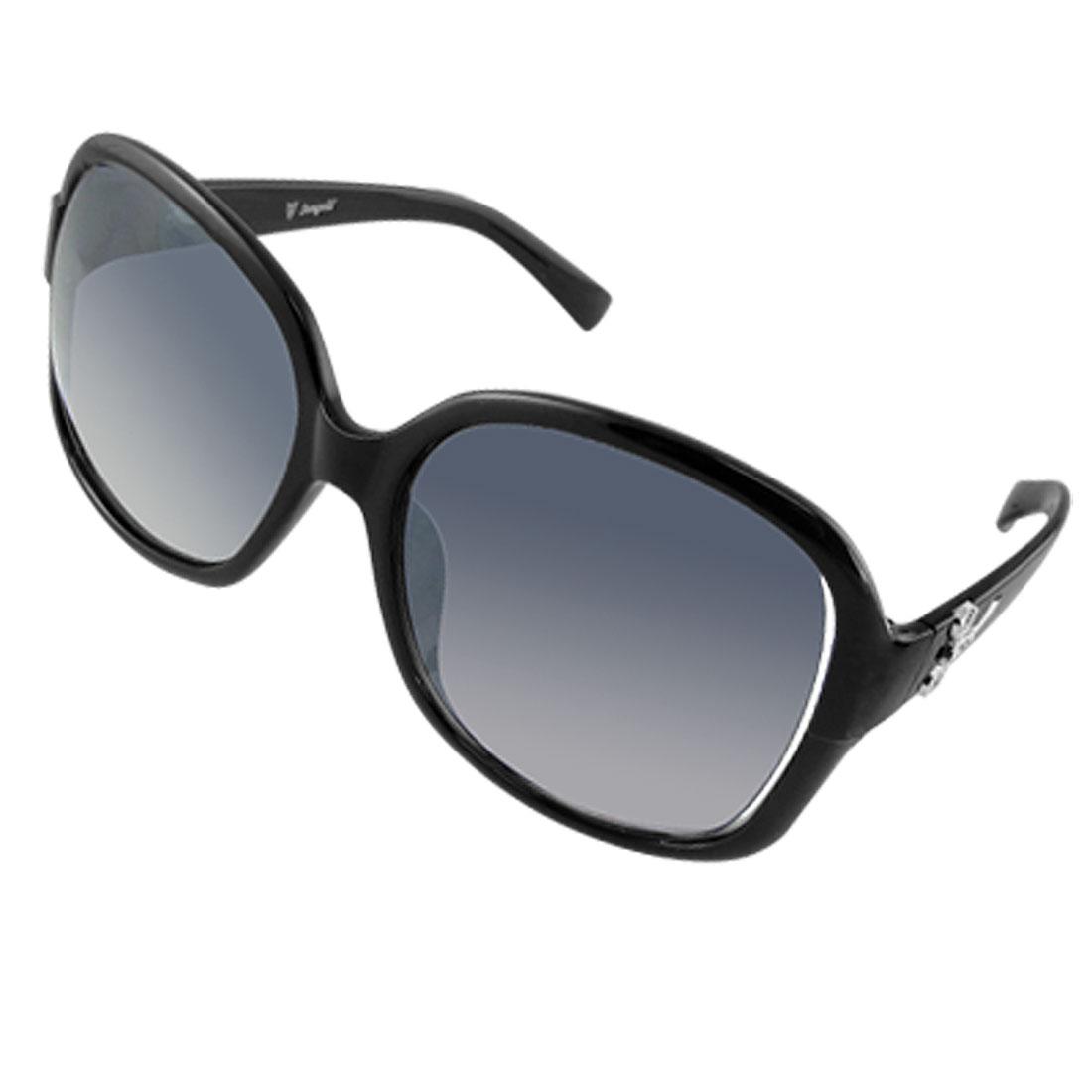 UV Protection Black Plastic Full-Rim Oversize Lens Lady Sunglasses