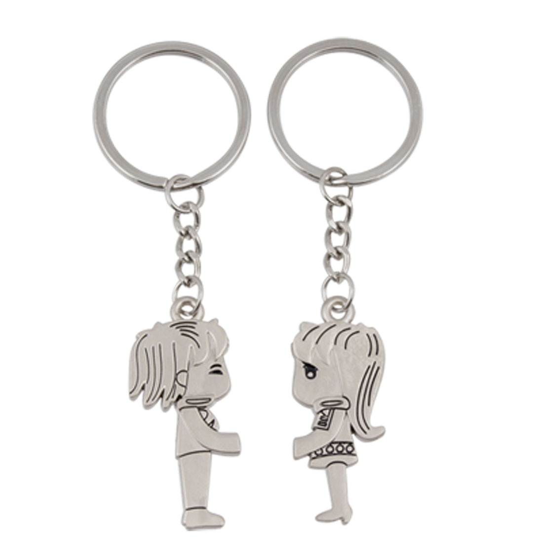 Pair Magnetic Kissing Boy Girl Pendant Keychain Keyring for Lovers