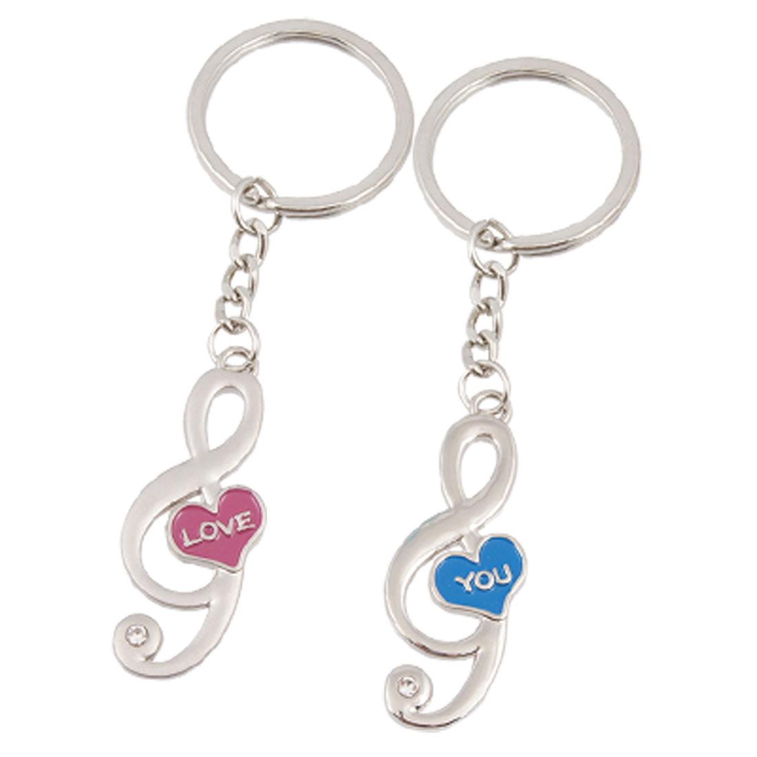 Blue Fuchsia Heart Center Musical Note Pendant Keyring Lovers Keychain