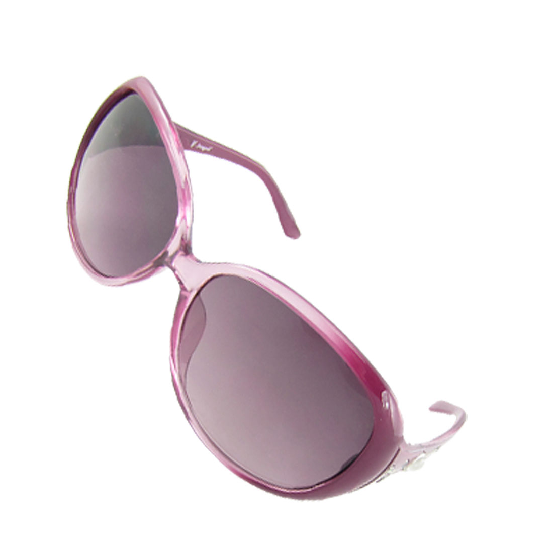 Lady Faux Pearl Inlaid Amaranth Plastic Arms UV Protection Sunglasses