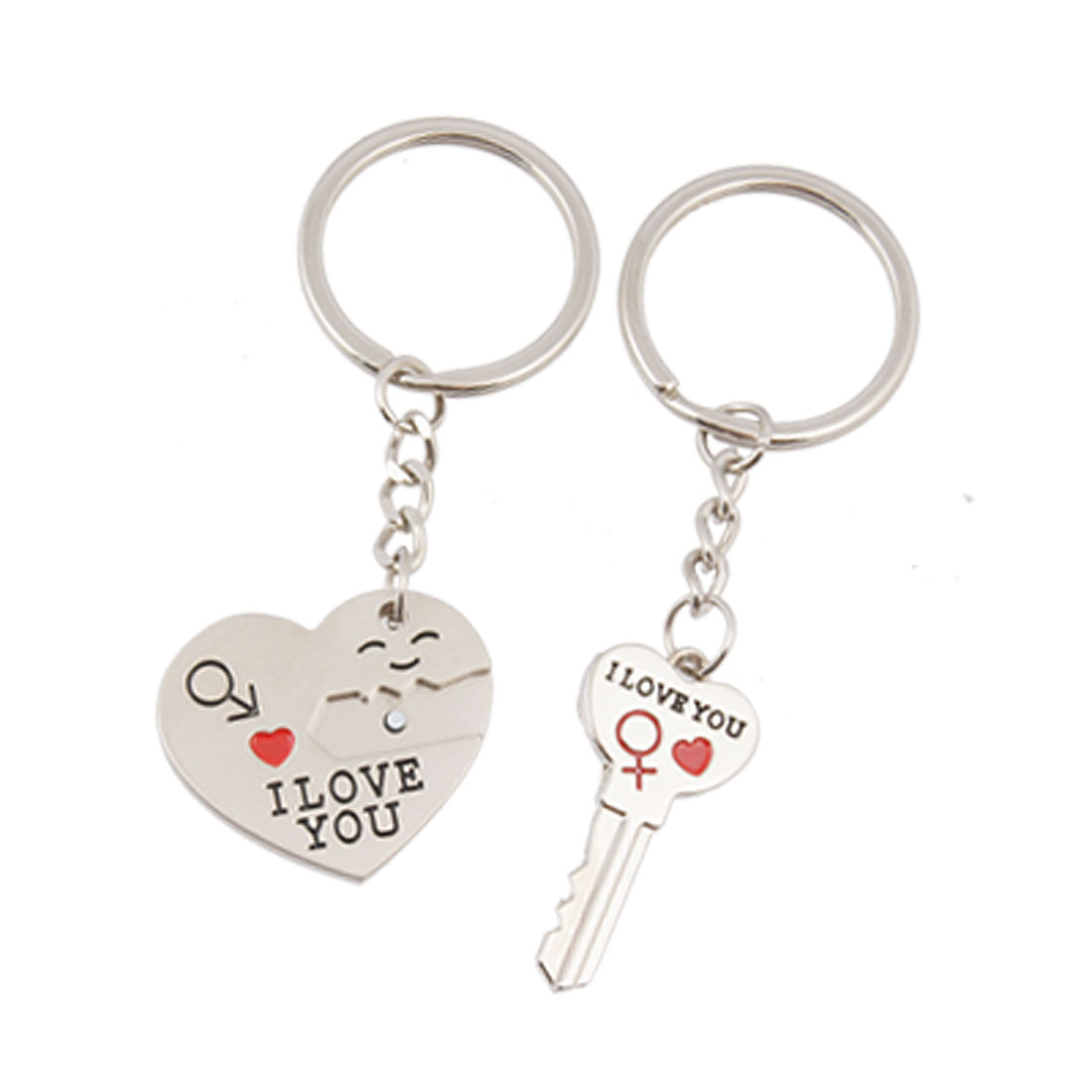 I LOVE YOU Heart Key w Lock Pendant Metal Keyring Keychain for Lovers