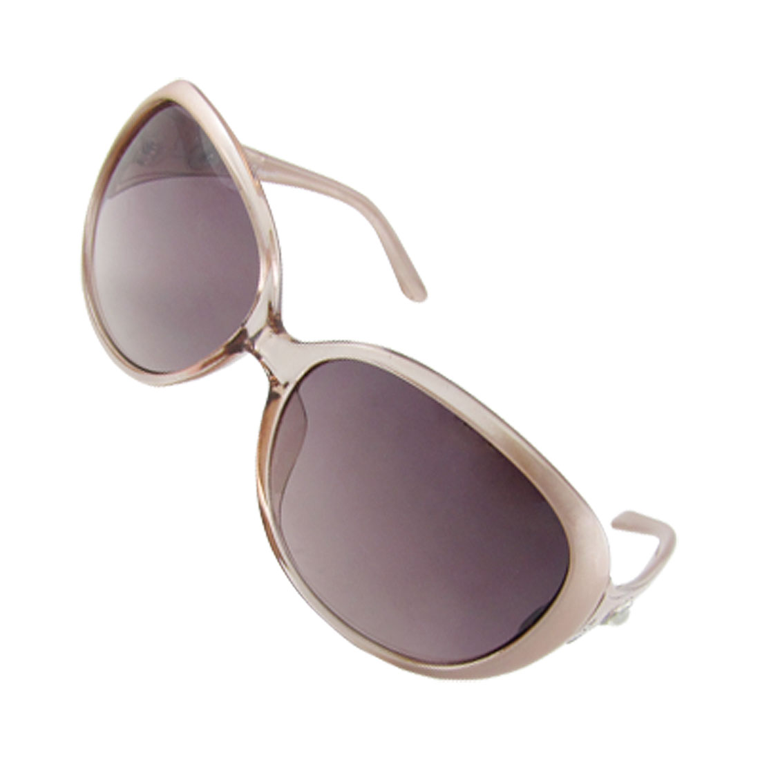 Women Faux Pearl Detail Pink Arms Dark Lens Leisure Sunglasses
