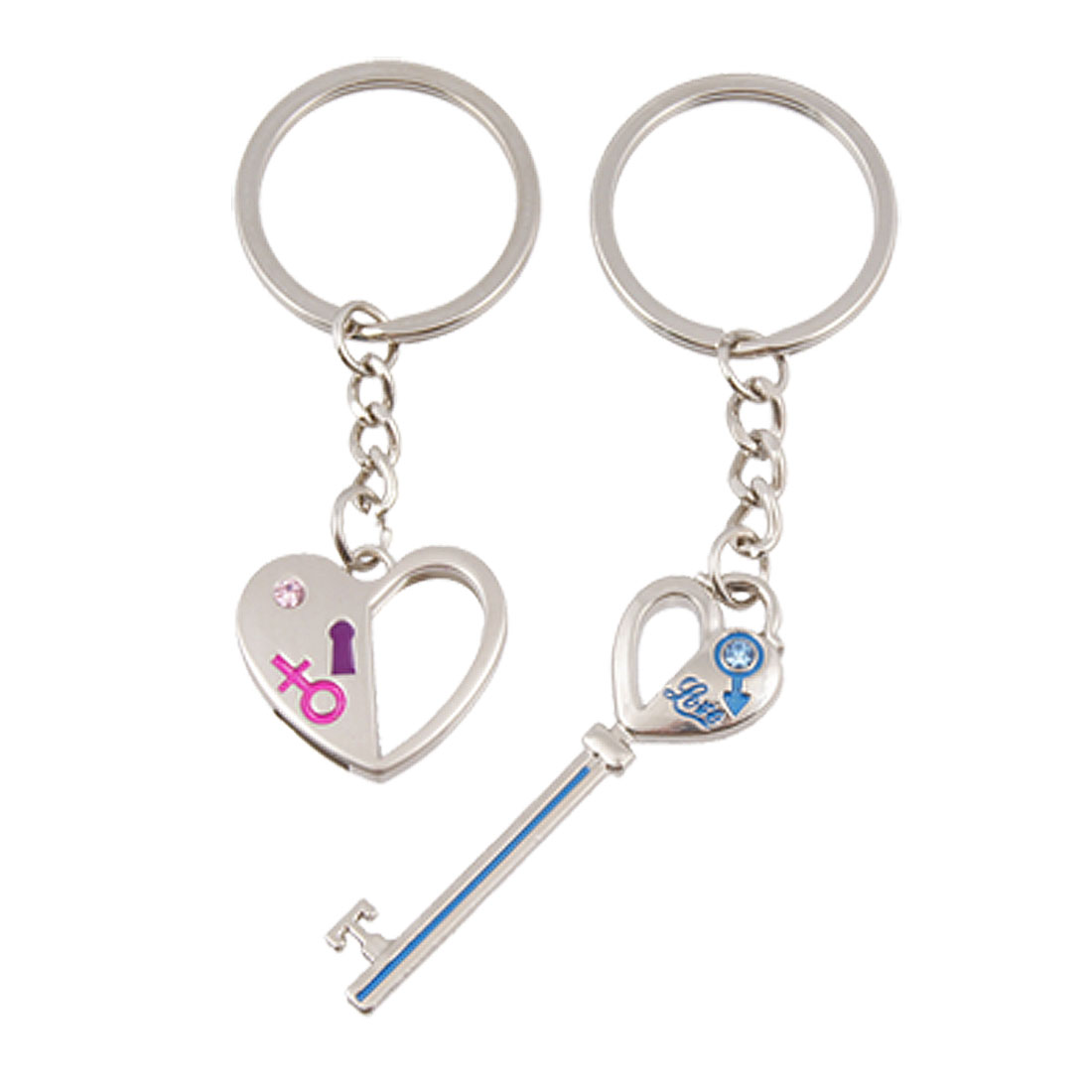 Lovers Gender Symbol Prints Heart Lock w Arrow Key Pendant Keyring Keychain