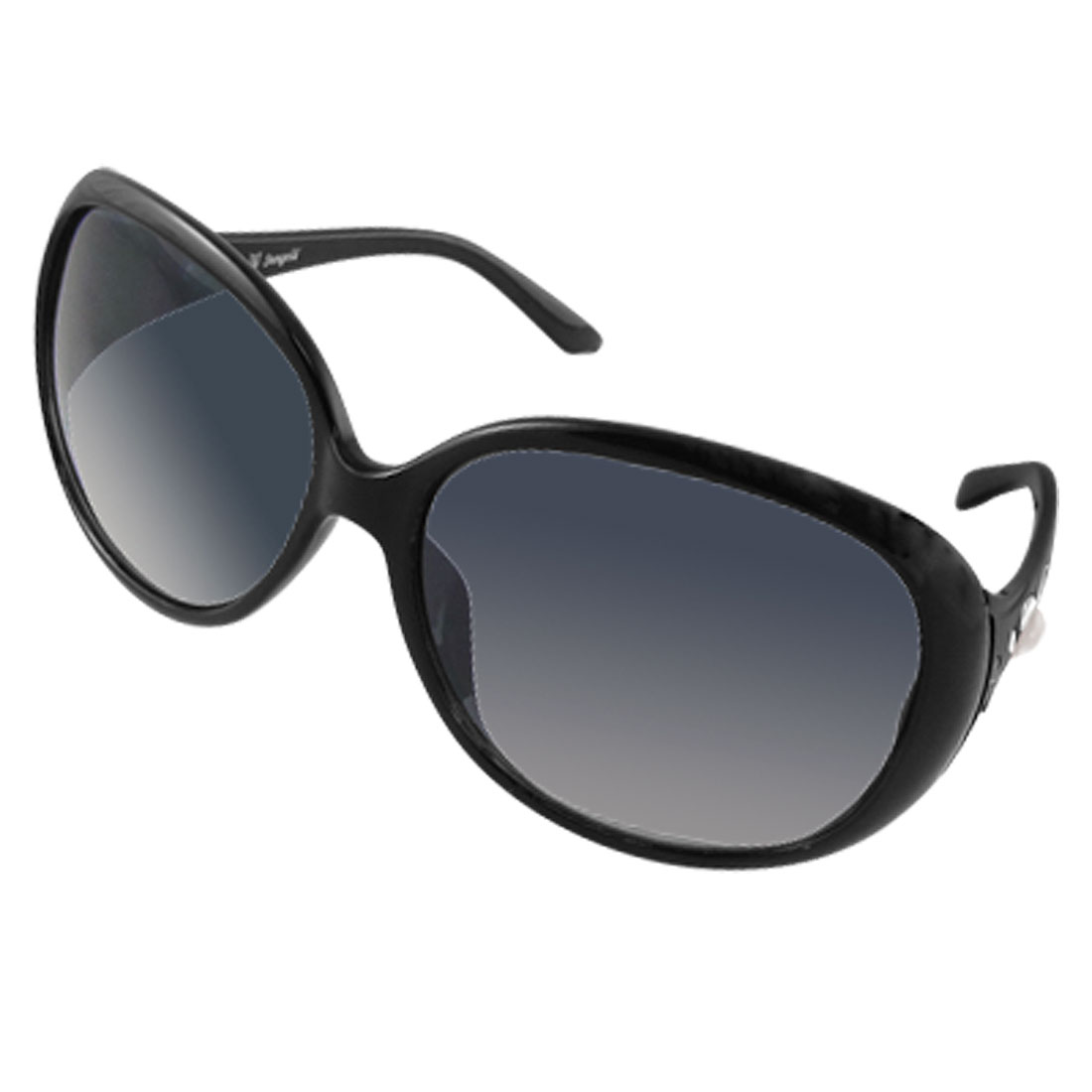 Women Faux Pearl Accent Black Arms Oversize Lens Sunglasses