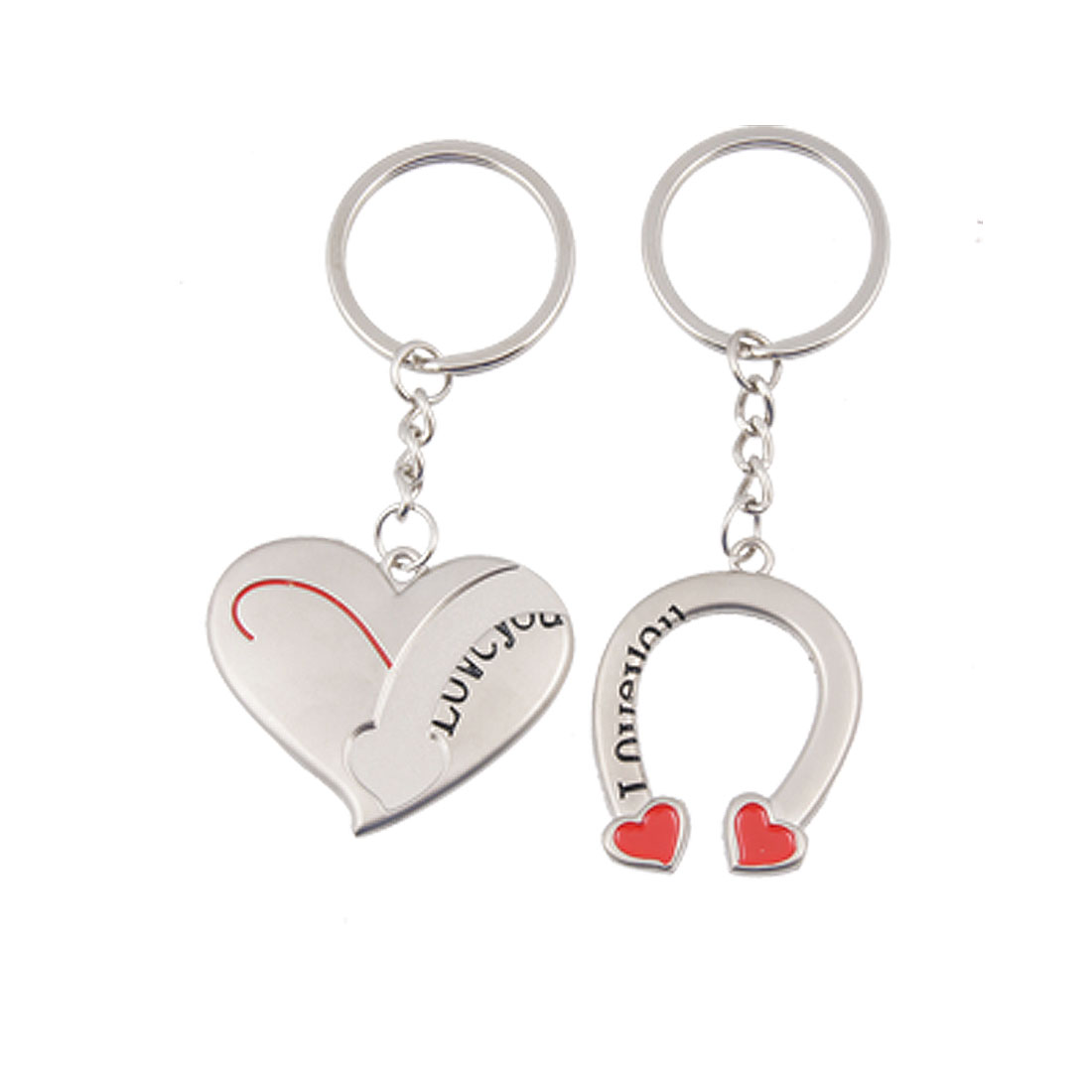Pair Metal Heart w Bended Bar Pendants Keyring Keychain for Lovers