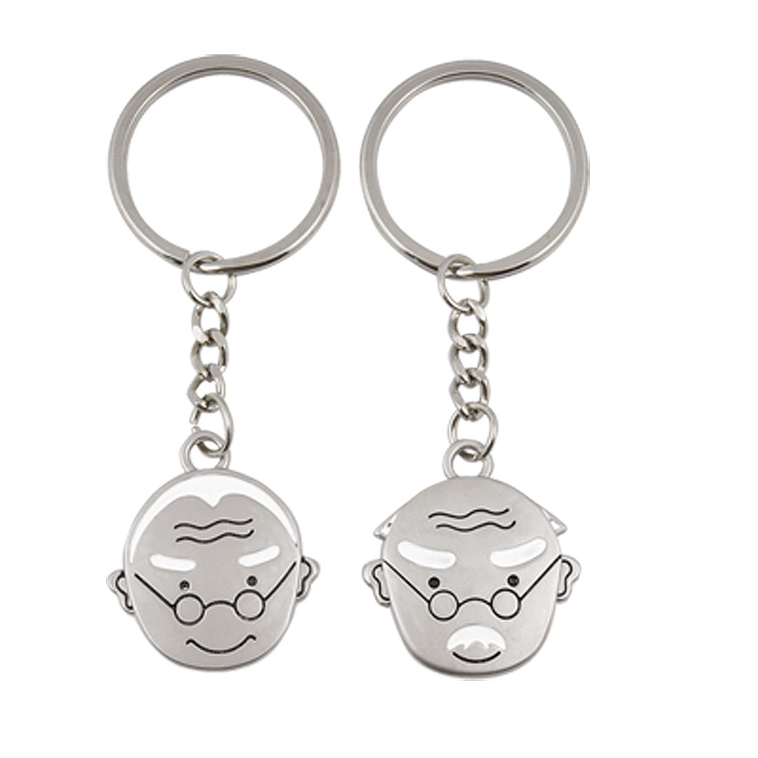 Grandpa Grandma Head Pendant Metal Keyring Keychain for Lovers