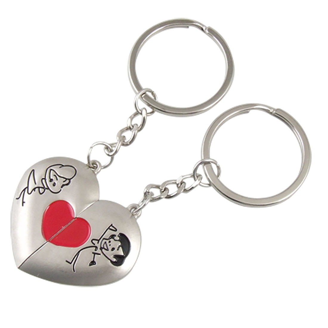 2 Pcs Heart Metal Silver Tone Magnetic Couple Key Ring Chain