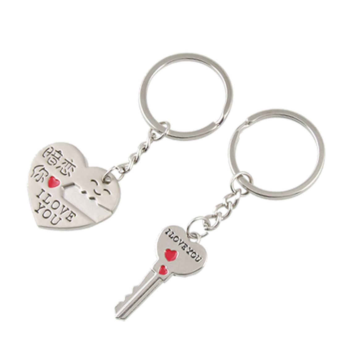 Pair Silver Tone Metal Heart Key Pendant Lovers Key Chains