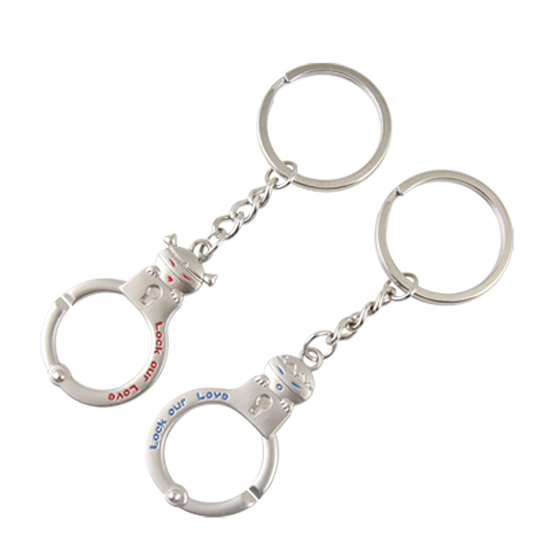2 Pcs Silver Tone Boy Girl Pendant Metal Key Chain for Lover