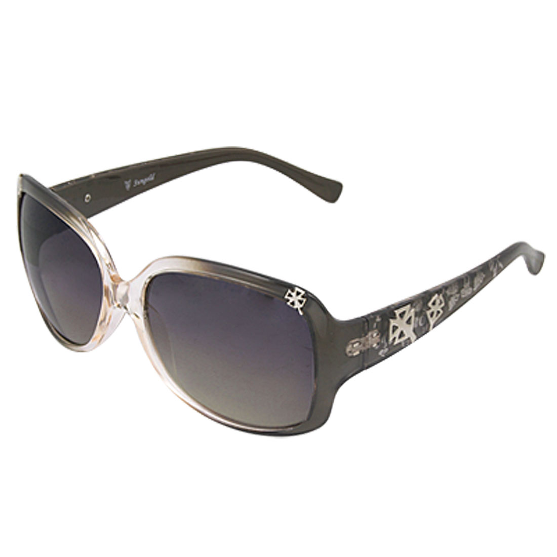 Ladies UV Protection Full Rim Big Lens Printed Plastic Arms Sunglasses