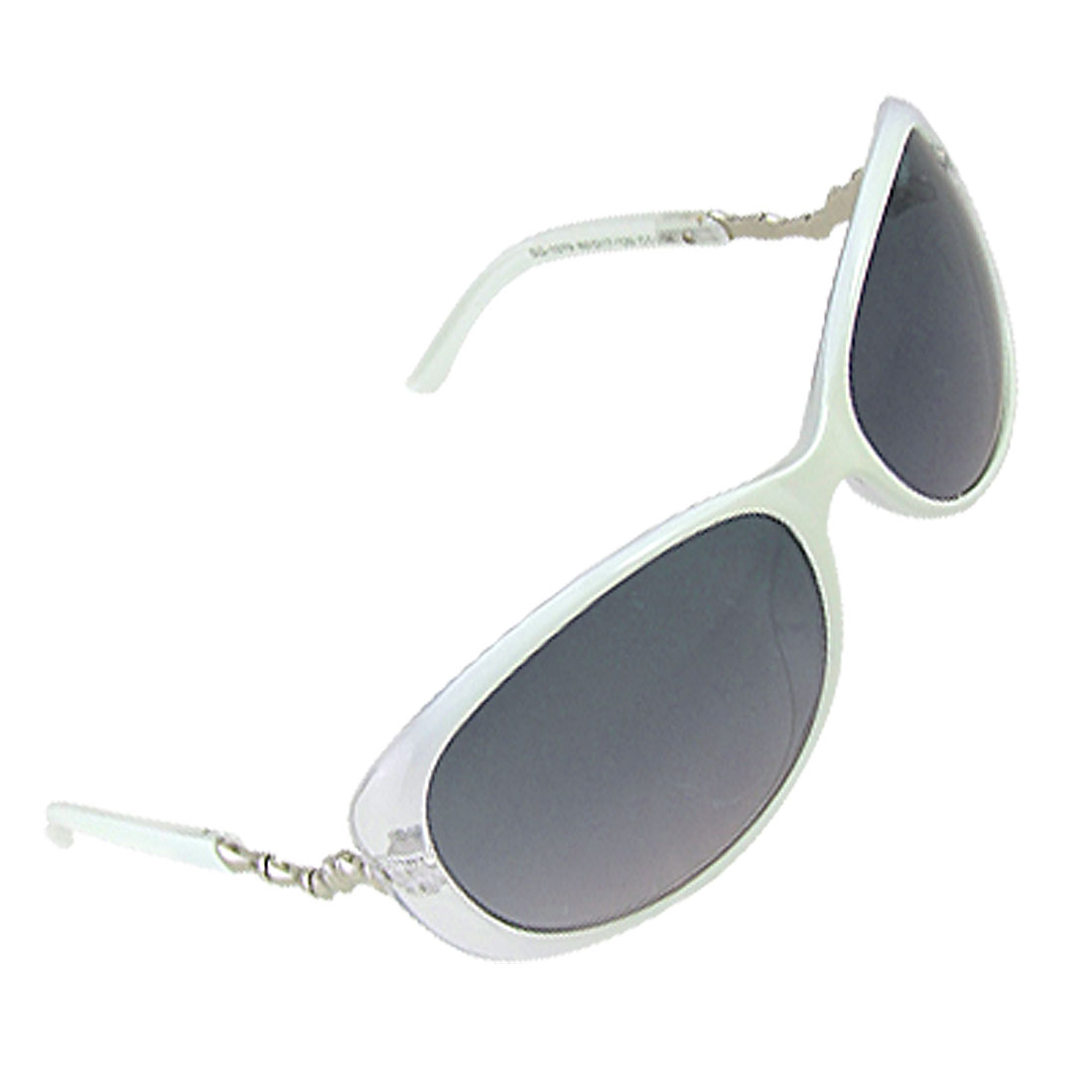 White Plastic Frame Silver Tone Bone Decor Arms UV Protection Sunglasses