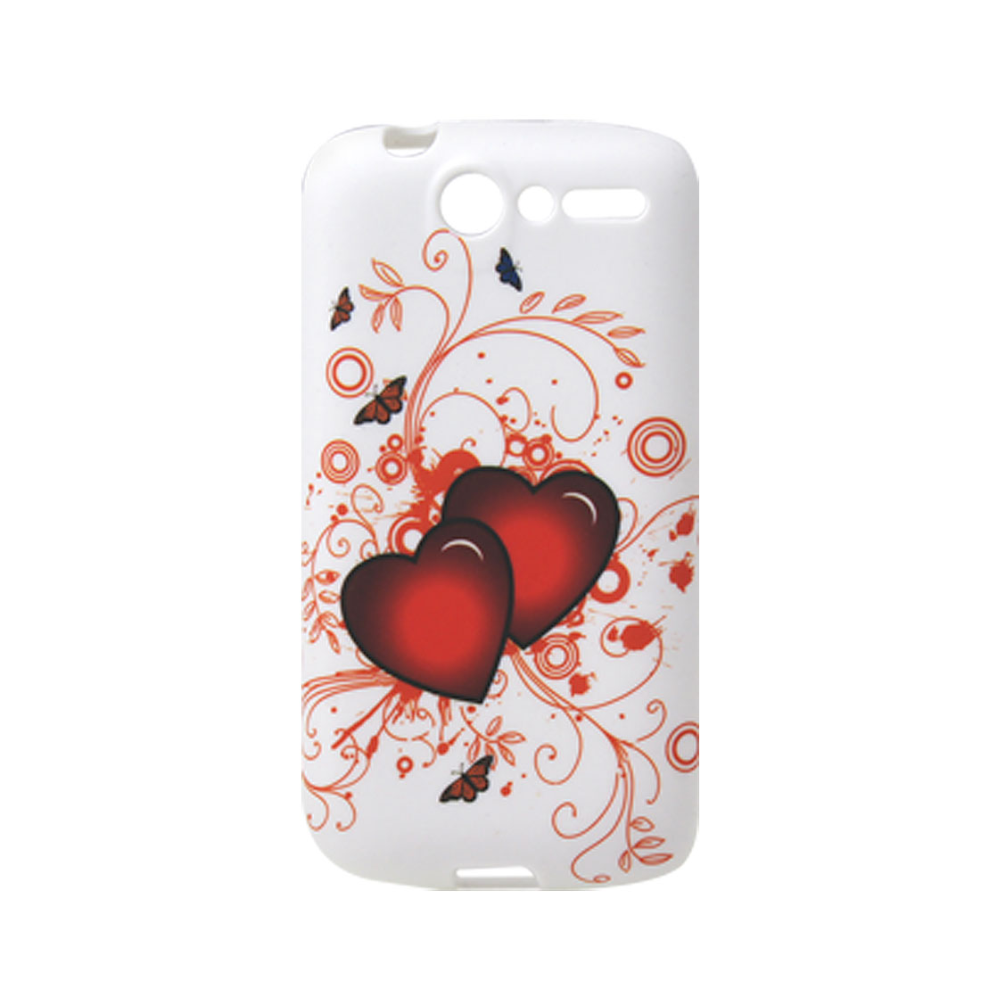 Soft Plastic Heart Butterfly Pattern White Cover for HTC Desire G7