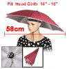 "Deep Red Polyester Umbrella Hat Headwear 28"" for Fishing"