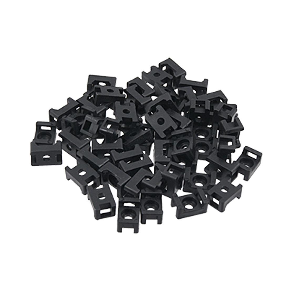 Black 4.5mm Width Cable Tie Base Saddle Type Mount Wire Holder 100Pcs