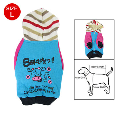 L Fuchsia Blue Press Stud Closure Cow Print Pet Dog Costume Hoodie Coat