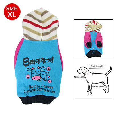 XL Blue Fuchsia Cow Print Ribbed Cuff Dog Pet Costume Hoodie Coat