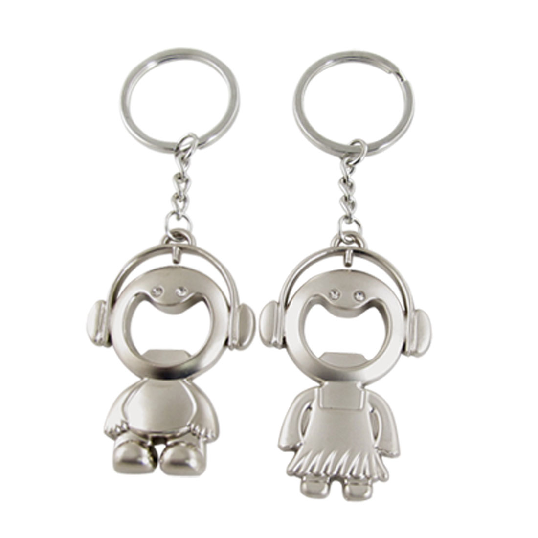 Pair Rhinestone Inlay Boy Girl Pendant Couple Key Ring Keychain