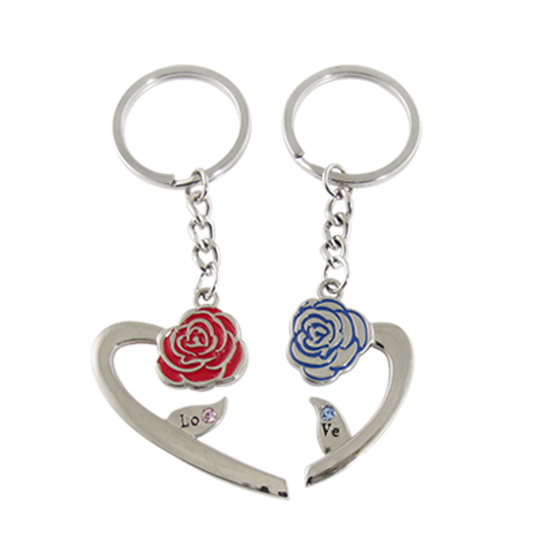 Pair Red Blue Rose Magnetic Heart Pendant Couple Keychain Keyring