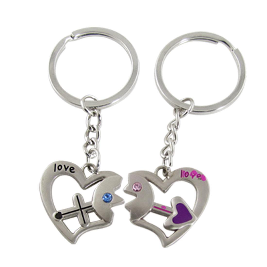 Couple Rhinnestone Inlay Heart Arrow Charms Keychain Keyring