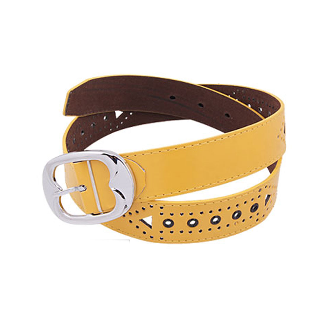 Single Prong Buckle Chocolate Back Yellow Front Faux Leather Belt for Ladies