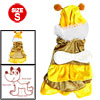 Bumble-bee Yellow Velvet Winter Pet Yorkie Dog Cat Apparel Coat Dress Jumper S