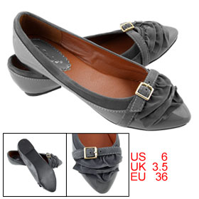 Gray Faux Leather Vamp Strap Buckle Point Toe Flat Shoes US 6