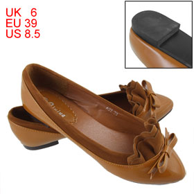 Brown Ruffled Faux Leather Vamp Flat Shoes for Ladies US 8.5