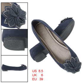 US 8.5 Ladies Round Toe Flower Detailing Faux Suede Slip On Shoes Navy Blue