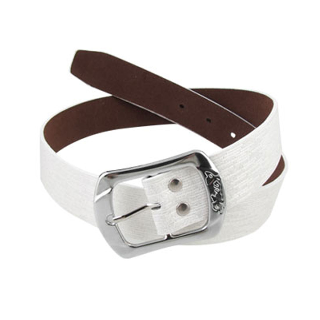 Faux Leather White Glittery Single Prong Ladies Belt