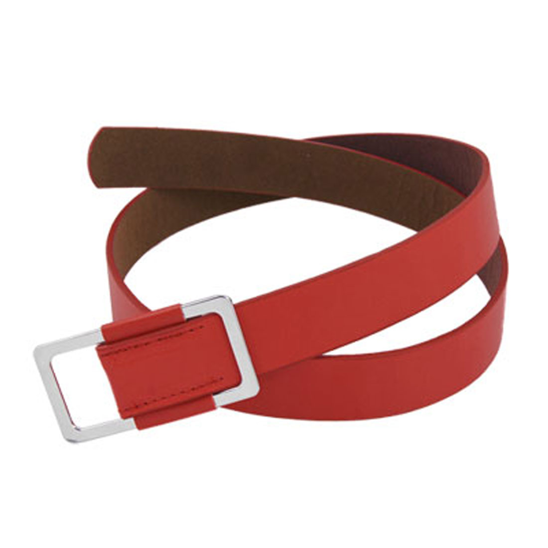 Ladies Rectangle Slide Buckle Red Faux Leather Waist Belt
