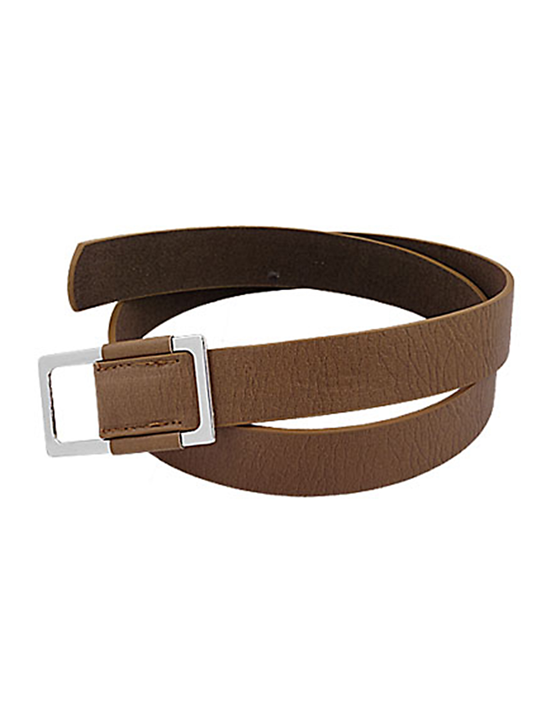 Brown Faux Leather Rectangle Buckle Waist Belt for Lady