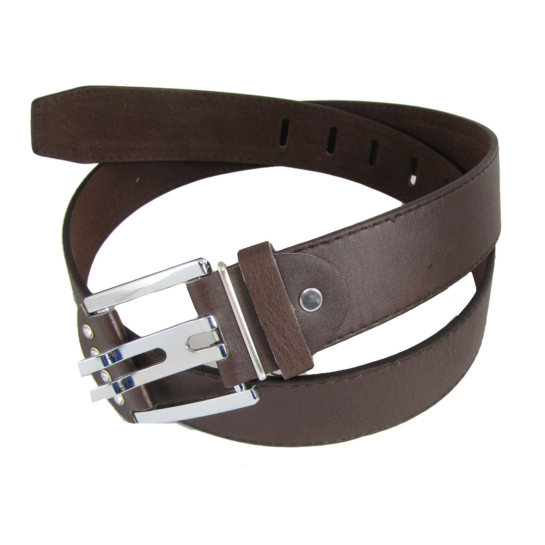 Single Prong Buckle Ladies Coffee Faux Leater Belt