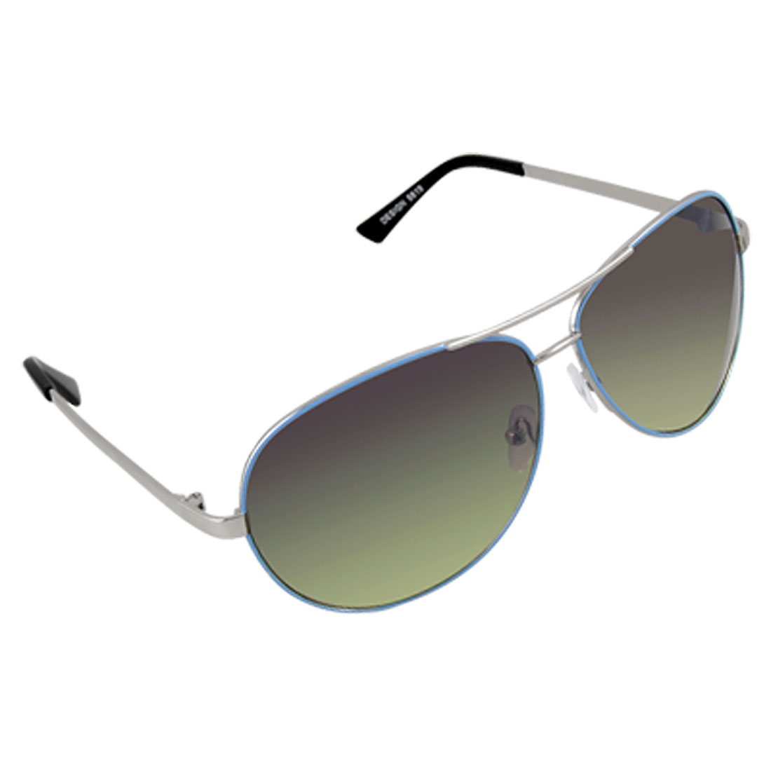Men Blue Metal Frame Olive Lens Double Brow Sunglasses