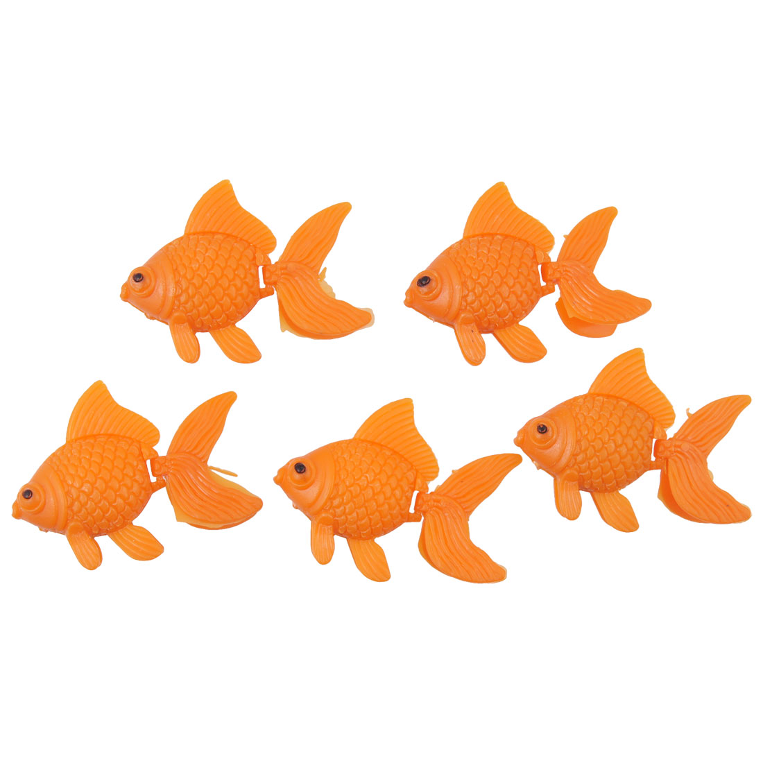 5PCS Orange Plastic Fish Ornament Decor for Fish Tank
