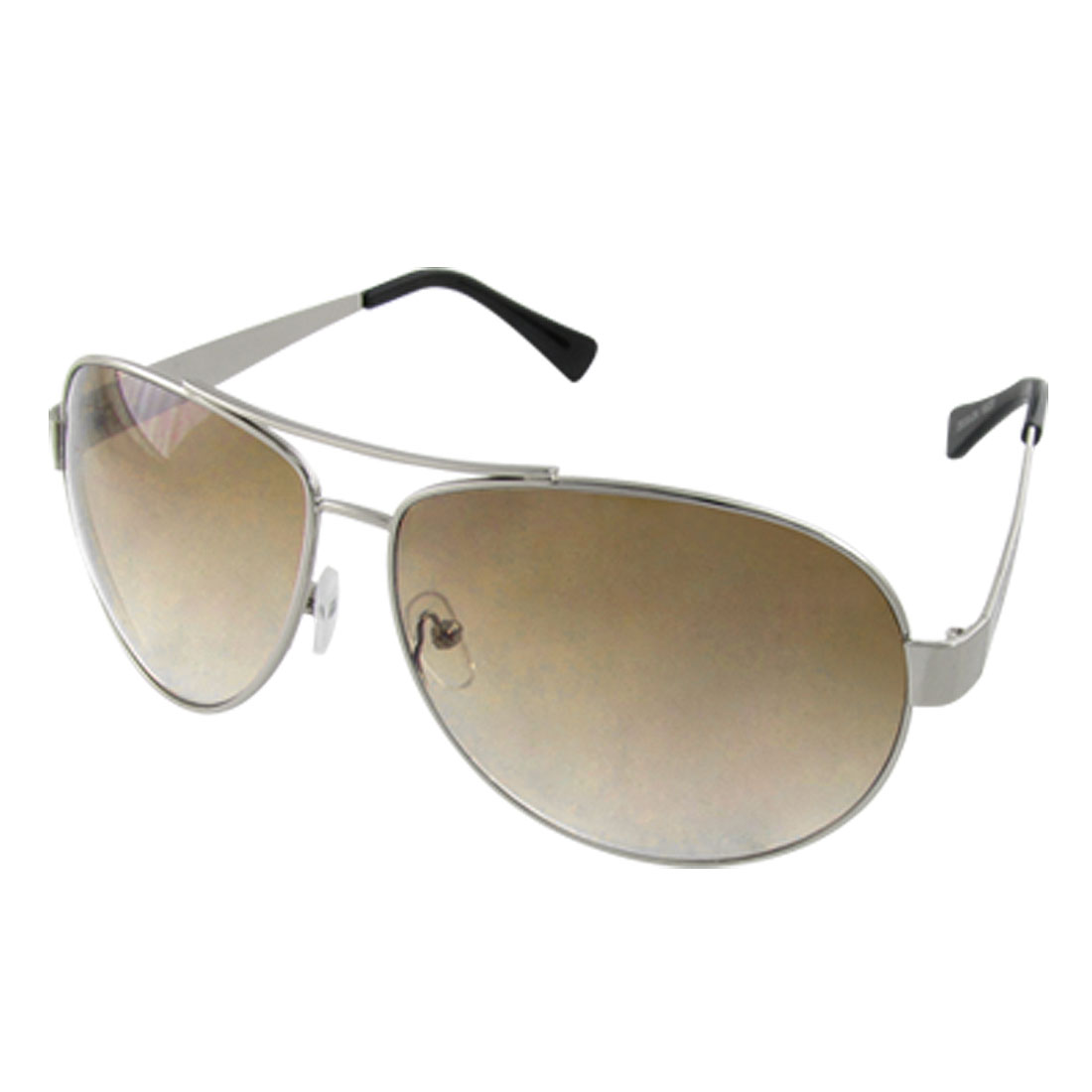 Men Double Bridge Silver Tone Frame Outdoor Sunglasses