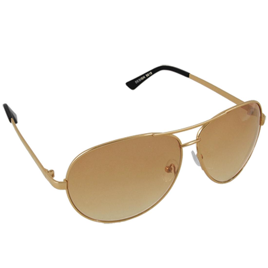 Gold Tone Metal Frame Tan Lens Men Dual Brow Sunglasses