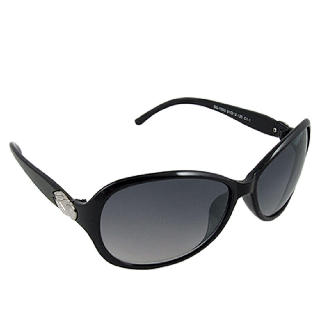 Black Frame Full Rim Plastic Arms Clear Gray Lens Lady Sunglasses