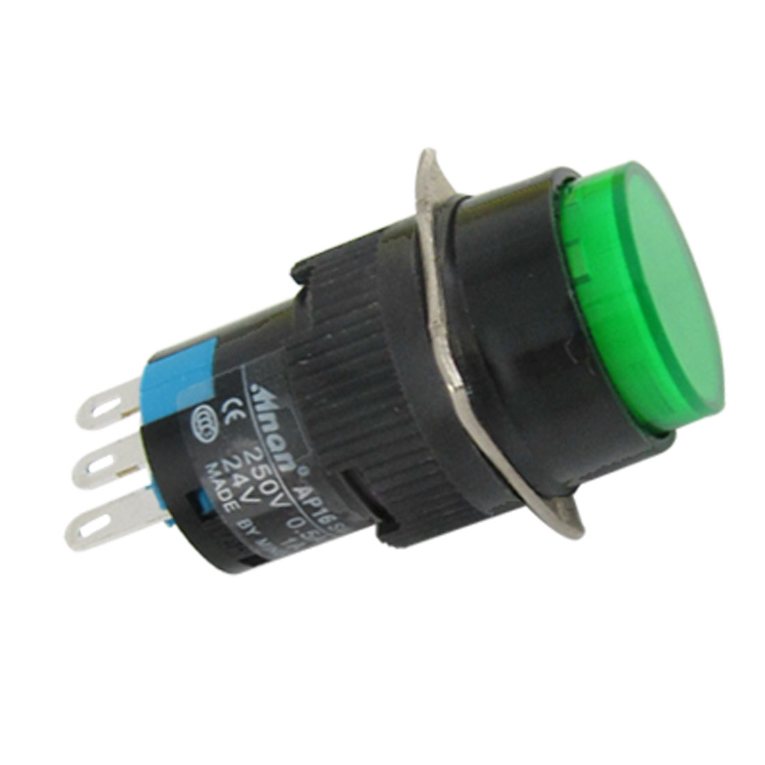 Green Round Cap AC 250V Momentary Push Lamp Switch Button