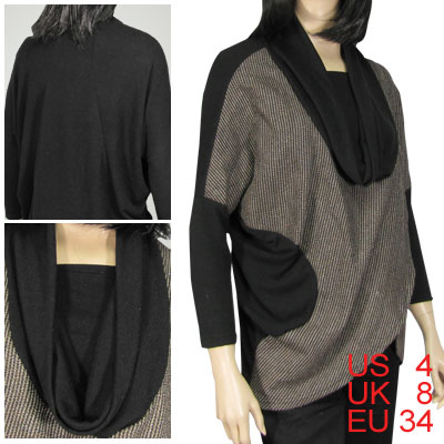 Lady Tweed Overlying Front Batwing Sleeve Blouse Top XS