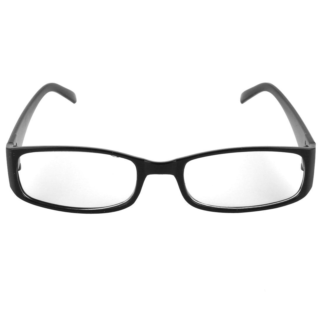 Unisex Black Plastic Full Rim Frame Clear Lens Glasses